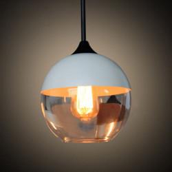 Fashion Svart / Vit Globe Glass Bar Hängande Taklampa E27 Base 220V