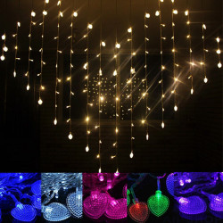 LED Heart Shape Curtain Lys Indendørs Party Jul String Fe