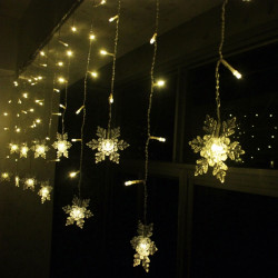 LED Snowflake Lys String Julen Wedding Curtain Dekoration Lamp
