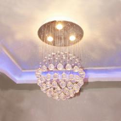 Modern LED Kristallkula Krona Hängande Ljus med 3 Lights 85-265V