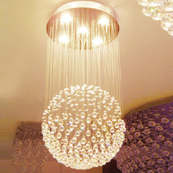Modern LED Kristallkula Krona Hängande Ljus med 5 Lights 85-265V