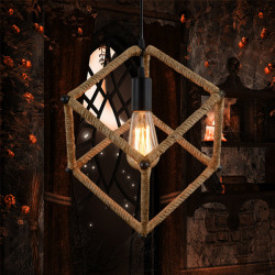 Quadrate Rope Chandelier Industrial Pendant Ceiling Fixture Light 220V