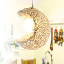 Einfache Pastoral Rattan Mond Anhänger Licht Creative Lighting 110 220V