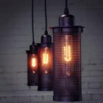 Single Head Loft Balkong DropLjus Lampa Industrial Metallnät 110-220V Taklampor