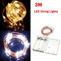 Varmvit / Pure Vit 3M 30LED Koppartråd LED Slinga Lights Lampa 5V