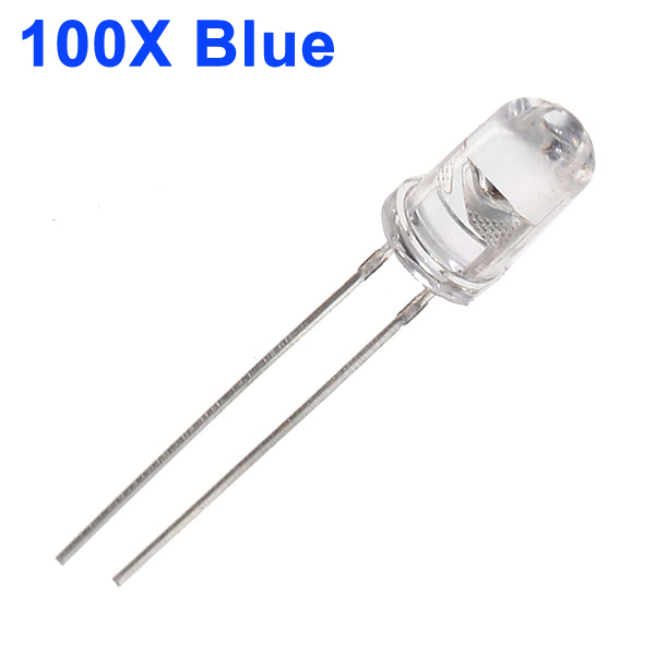 100pcs 5mm 3000-6000mcd LED Bright Decoration Torch Toy Light Blue LED Light Bulbs