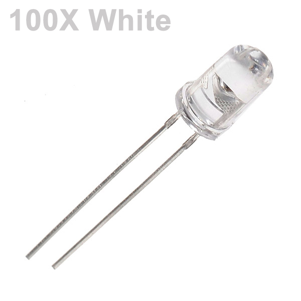 100pcs 5mm 3000-6000mcd LED Bright Decoration Torch Toy Light White LED Light Bulbs