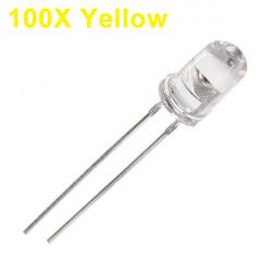 100st 5mm 3000-6000mcd LED Ljus Inredning Torch Toy Ljusgul