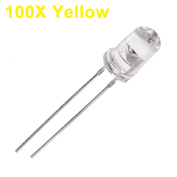 100pcs 5mm 3000-6000mcd LED Bright Decoration Torch Toy Light Yellow LED Light Bulbs
