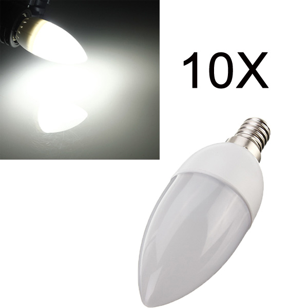 10XE14 2835 SMD 3W White LED Candle Bulb Lamp AC 200-240V LED Light Bulbs
