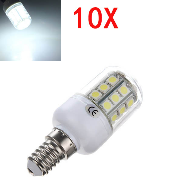 10X E14 3.2W LED White 5050 30 SMD Corn Light Lamp Bulbs AC 220V LED Light Bulbs