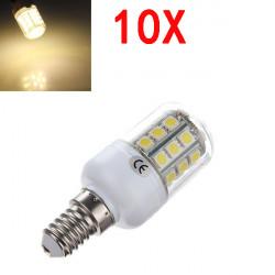 10X E14 3.2W Varmvit 5050 SMD 30 LED Corn Lampa med Cover 220V