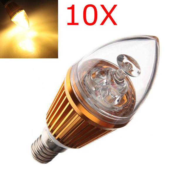 10X E14 3W Warm White LED Candle Light Bulb Lamp 110-240V LED Light Bulbs
