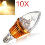 10X E14 4.2W 3LED Non Dimmable Warm White Light Bulbs 85-265V LED Light Bulbs