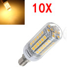 10X E14 5.5W Warm White 828LM 69SMD 5050 LED Corn Light Bulb 220V LED Light Bulbs