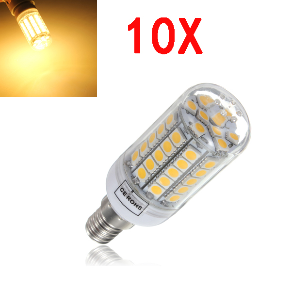 10X E14 6W Warm White 700LM SMD5050 59LED Corn Light Bulbs AC220-240V LED Light Bulbs