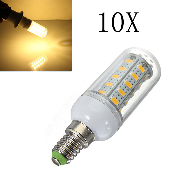 10X E14 7W Warm White 36 SMD 5730 LED Corn Light Lamp Bulbs AC 220V LED Light Bulbs