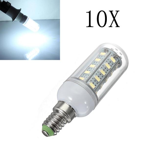 10X E14 7W White 36 SMD 5730 LED Corn Light Lamp Bulbs AC 220V LED Light Bulbs