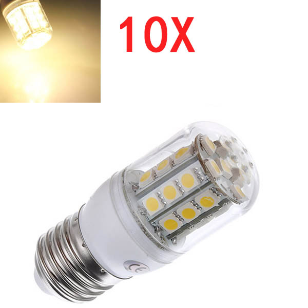 10X E27 3.2W LED Warm White 5050 30 SMD Corn Light Lamp Bulbs AC 220V LED Light Bulbs
