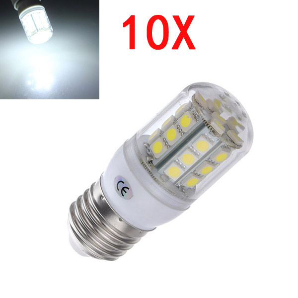 10X E27 3.2W LED White 5050 30 SMD Corn Light Lamp Bulbs AC 220V LED Light Bulbs