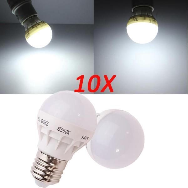 10X E27 3W Pure White Energy Saving LED Light Bulb 220V LED Light Bulbs