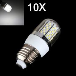 10X E27 4W 520LM Pure White 78 SMD 3014 LED Corn Light Bulbs 85-265V