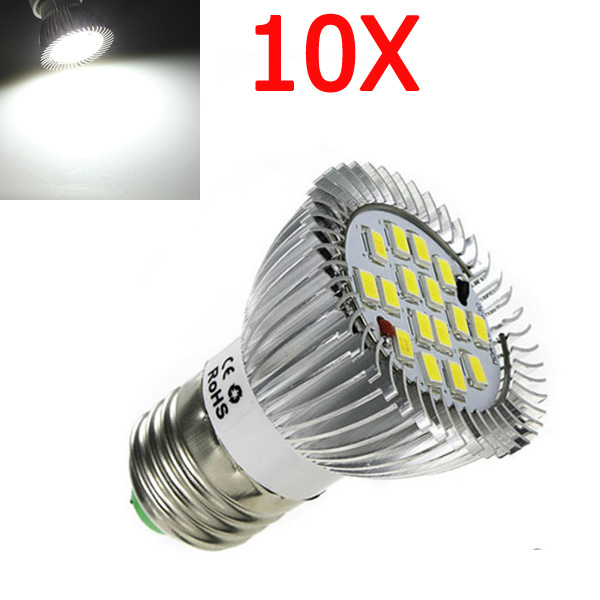 10X E27 7W 600LM Pure White SMD 5630 LED Spot Light Bulb 85-265V LED Light Bulbs