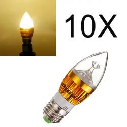 10X E27 9W Varmvit 3 LED Ljuskrona Candle Ljus Lampa 85-265V