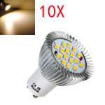 10X GU10 6.4W 16 SMD 5630 LED Varmvit Spotlight Lampa 185-265V LED-lampor