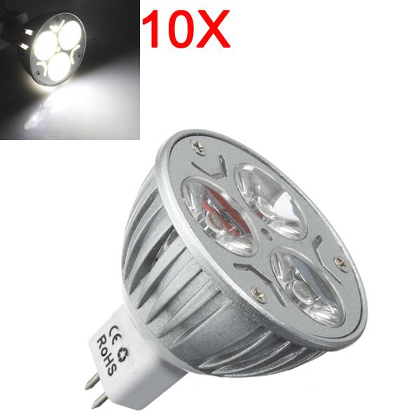10X MR16 3W 300LM reine weiße LED energiesparende Punkt Glühlampe 12V LED Lampen