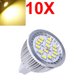 10X MR16 6.4W Warm White SMD 5630 LED Spot Light Bulb 10V-18V AC