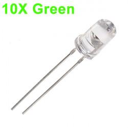 10pcs 5mm 3000-6000mcd LED Bright Decoration Torch Toy Light Green