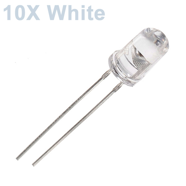 10pcs 5mm 3000-6000mcd LED Bright Decoration Torch Toy Light White LED Light Bulbs