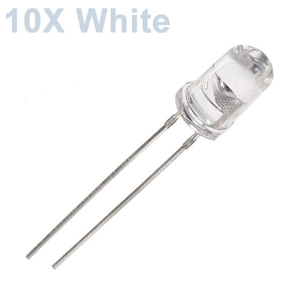 10st 5mm 3000-6000mcd LED Lysande Dekoration Ficklampa Leksak Ljus Vit LED-lampor