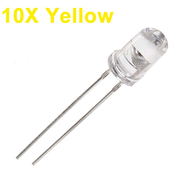 10pcs 5mm 3000-6000mcd LED Bright Decoration Torch Toy Light Yellow LED Light Bulbs