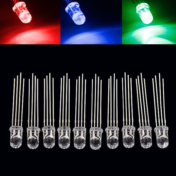 10pcs 5mm RGB LED Common Cathode 4-Pin Tri-Color Emitting Diodes F5 LED Light Bulbs