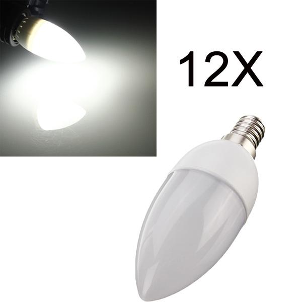 12XE14 2835 SMD 3W White LED Candle Bulb Lamp AC 200-240V LED Light Bulbs