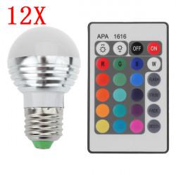12X E27 3W 16 Farbe Änderung RGB LED Kugel Birne Lampe 85 265V + IR Fernbedienung