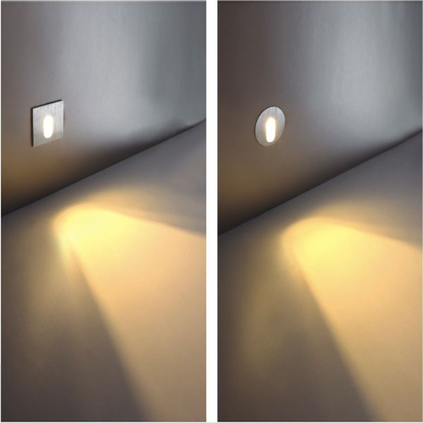 1W Round Aluminum LED Corner Wall Light Impaction Night Lamp Wall Lights
