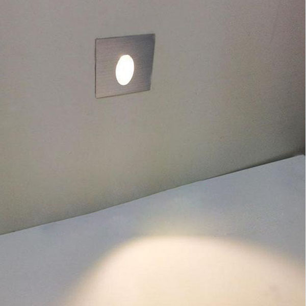 1W Square Aluminum LED Corner Wall Light Impaction Night Lamp Wall Lights