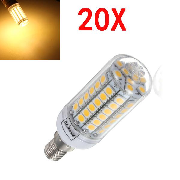 20X E14 5.5W Varm Hvid 828LM 69SMD 5050 LED Corn Pære 220V LED-pærer