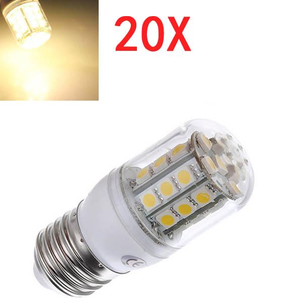 20X E27 3.2W LED Varm Hvid 5050 30 SMD Corn Lys Lampe Pærer AC 220V LED-pærer
