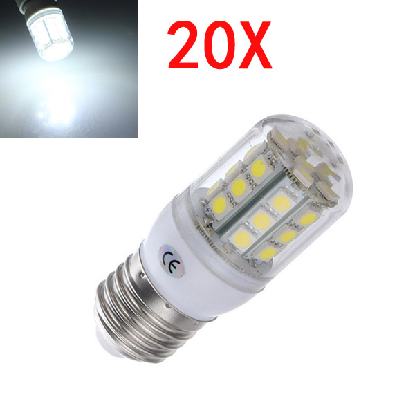 20X E27 3.2W LED White 5050 30 SMD Corn Light Lamp Bulbs AC 220V LED Light Bulbs