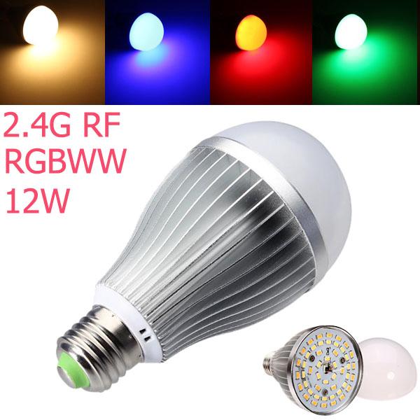 2.4G RF E27 12W RGB + Varmvit Dimbar SMD 5630 AC85-265V LED-lampa LED-lampor