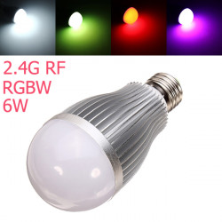 2.4G RF E27 6W RGB + White Dimmable SMD 5630 AC85-265V LED Globe Bulb