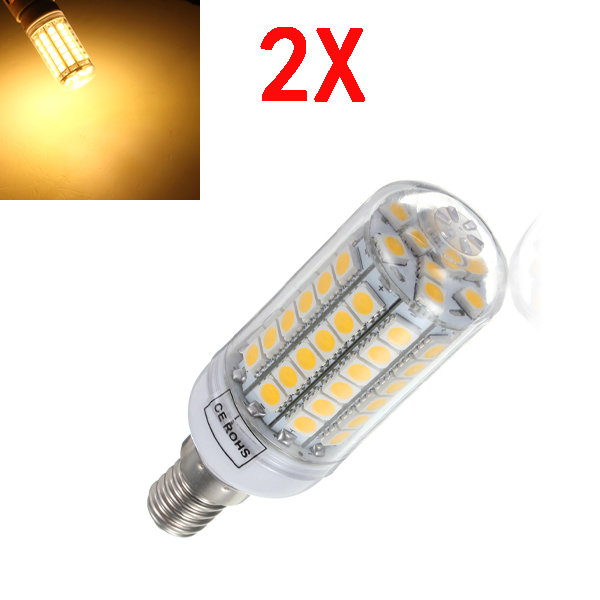 2X E14 5.5W Warm White 828LM 69SMD 5050 LED Corn Light Bulb 220V LED Light Bulbs
