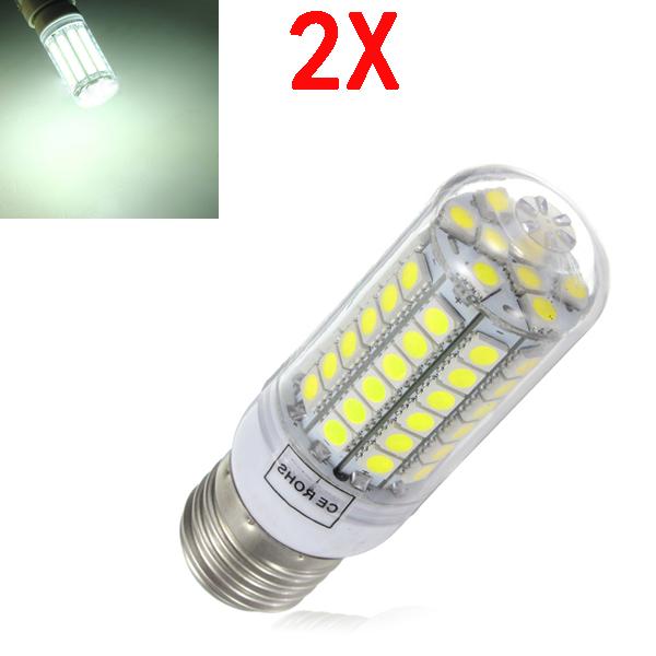 2X E27 5.5W White 828LM 5050SMD 69 LED Corn Light 220-240V LED Light Bulbs