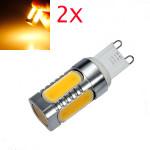 2X G9 7W COB Varm Hvid Aluminum LED Corn Pærer 220V LED-pærer