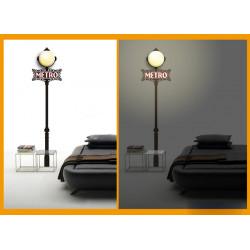 Bakgrund Metro 3D Lamp Wall Sticker Rummet Väggarna Decor Lighting