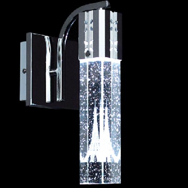 3W LED Eiffeltårnet Væglampe Single Hoved Bubble Crystal Column Lamp Væglamper